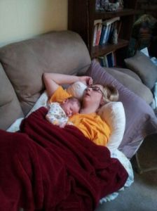 Mommy and Layton resting